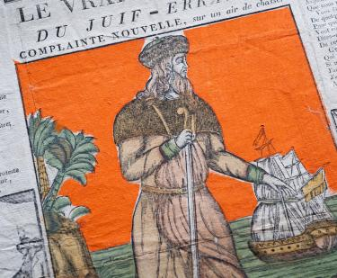 A hand-colored woodcut depicts a man with a walking stick. In the background a ship and palm trees are visible. Some text in French is visible.