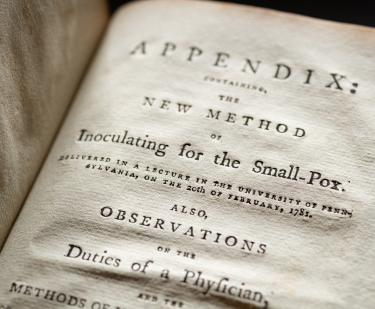 "Detail of a printed book shows text in English reading ""Appendix"" at the top of the page."