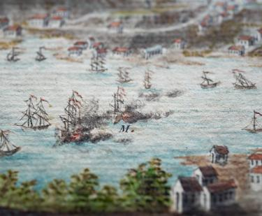 Detail of a hand colored, engraved print of Grenada shows a scene of naval warfare, as seen by smoke engulfing one ship.