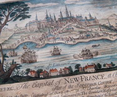 "Detail of engraved, hand colored print of Quebec City shows fortifications, churches and cathedral, statehouse, ships, and dwellings. Also includes title reading ""Quebec, the Capital of New France"" and other text in English."