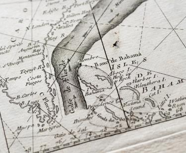 "Detail of an engraved map shows the direction of flow of the ""Golfe de Floride."" Other text in French labels nearby landmarks such as ""Isles de Bahama.'"
