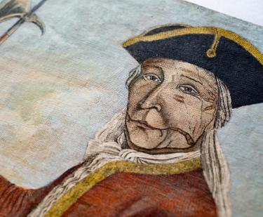 Detail of an engraved, hand colored print shows portrait of Hendrick, a Mohawk chief.