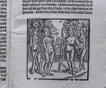 Detail of a printed text shows an illustration of four naked Natives surrounded by trees. One holds a cross bow and another holds a large stick. Text in Dutch is also visible.
