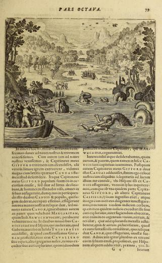 scene of encounter depicting men in boats, sea-serpents, and wildlife