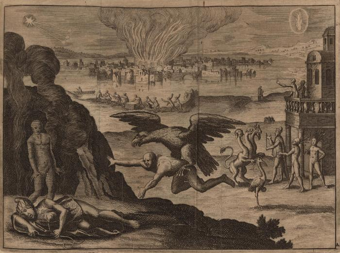 man carried by the talons of a large bird fire and smoke in the background