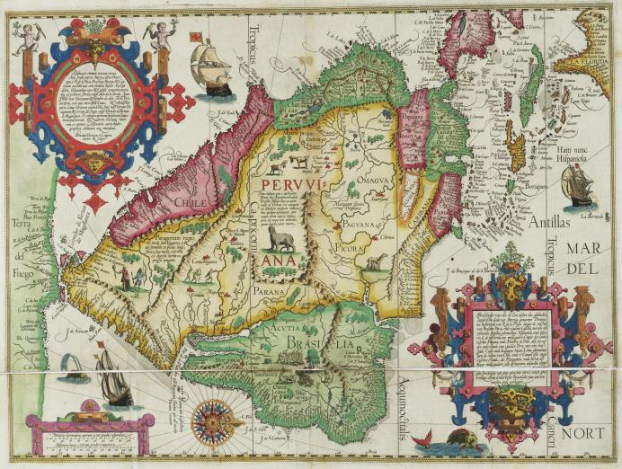 colorful 16th century map with text in Latin