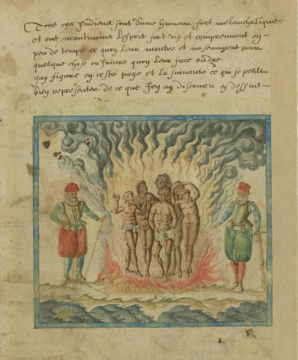 Spaniards burn Native Americans in a 17th century illustration