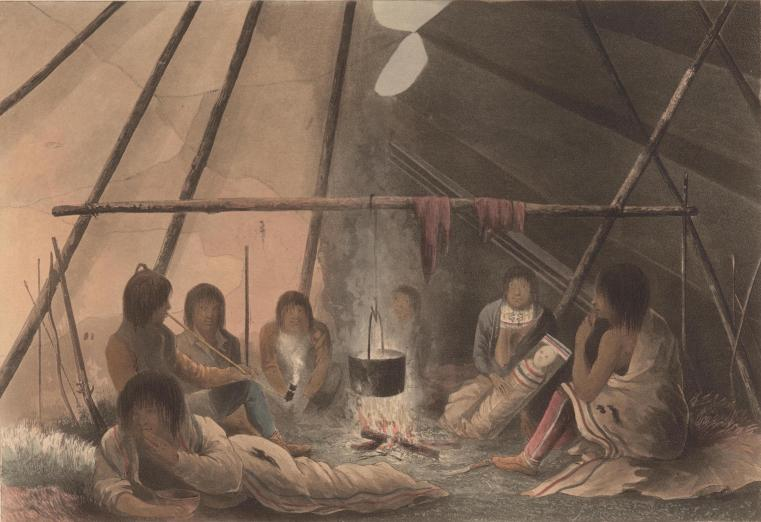 19th century image of Native people smoking in the confines of a lodge