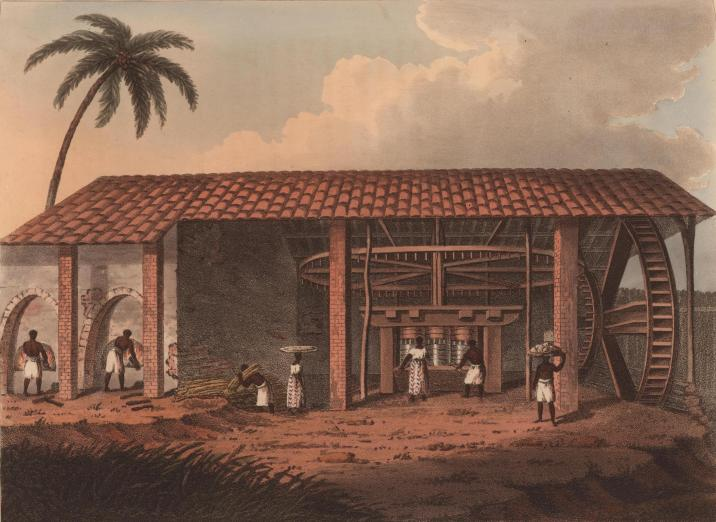 Black people working in a sugar mill, clouds and palm tree loom overhead