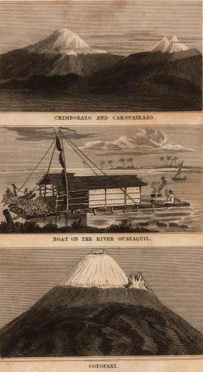 19th century illustration of mountains and ships on water
