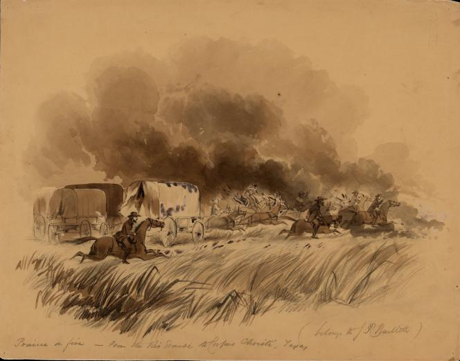 sketch by John Russell Bartlett of clouds of smoke ahead of a caravan