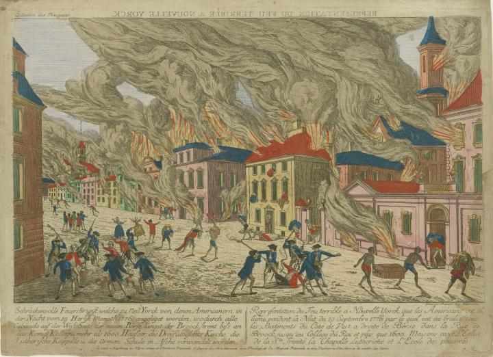scene of a city going up in flames, large clouds of smoke fill the sky, and men in the streets fighting