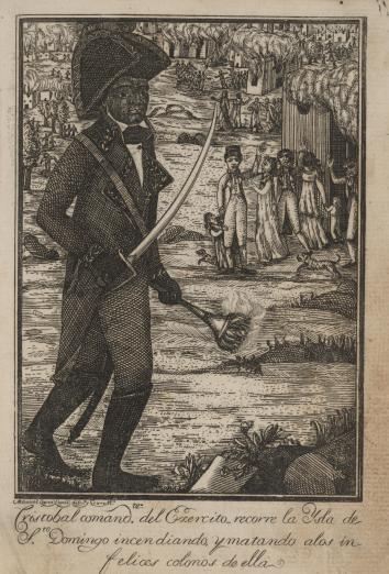 Black slave Henri Christope carries a torch and sword wearing uniform