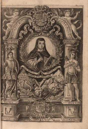 Portrait of Sor Juana Inés de la Cruz holding a pen and a book