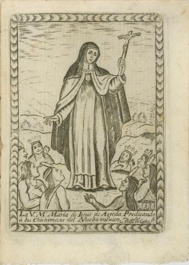 Depiction of Sor María de Ágreda preaching
