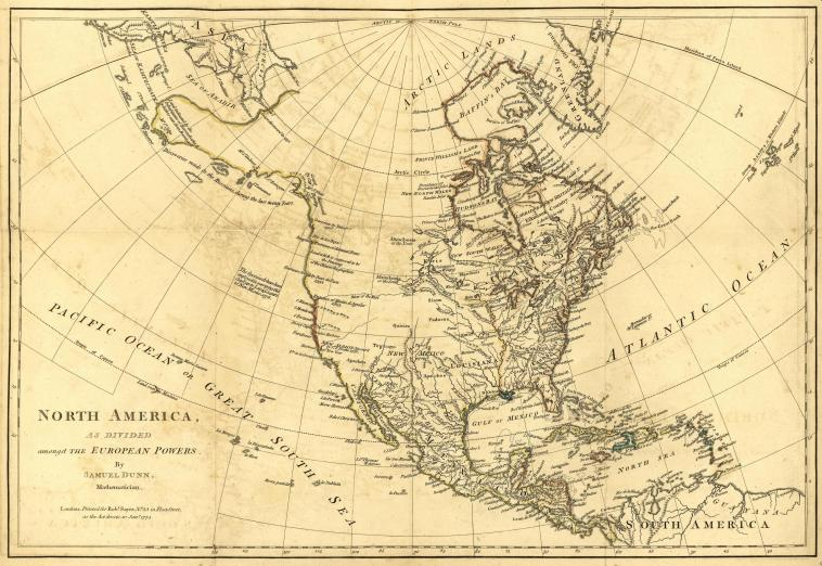 printed map of North America, also showing the oceans, part of Asia, Arctic Lands, the Caribbean and northern South America