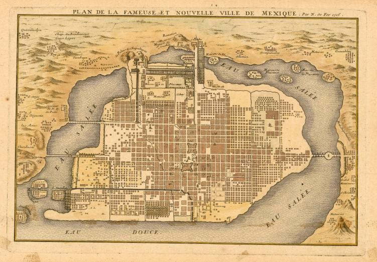 plan of Mexico City showing Lake Texcoco and aqueducts