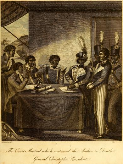 Haitian generals in discussion as they write a document