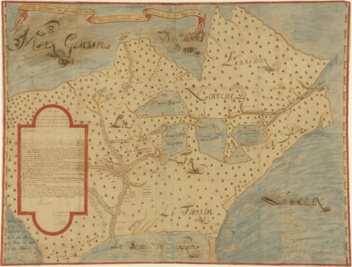 manuscript colored map of New France