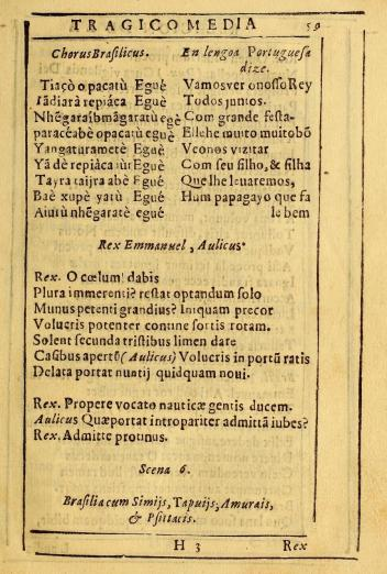 printed text from a play in Portuguese an Tupi