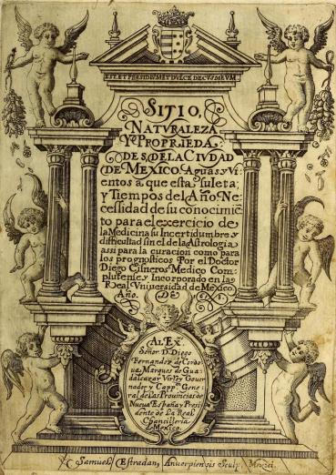 title page text surrounding by angels and architectural details