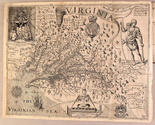 map of Virginia showing waterways, vegetation, coastlines