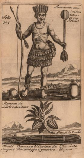 a Native American man is pictured with tools for preparing chocolate beverages, along with a detail of a cacao branch, its fruits, and some vanilla pods