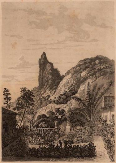 illustration of a view of the Corcovado in Brazil