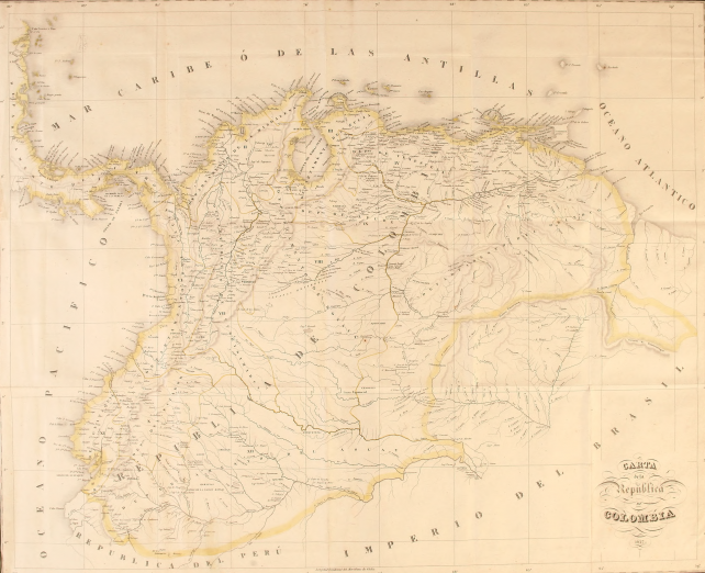 "Printed map of Colombia shows yellow coloring around the borders of the country and blue lines to denote waterways. Some topographic information visible on the map. Text in Spanish indicates title ""Carta de la Republica de Colombia 1827."""