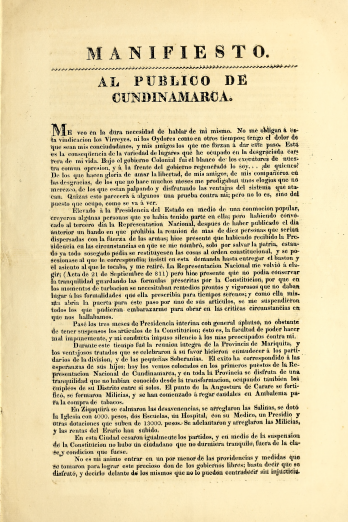 "Detail of a printed document shows text in Spanish reading ""Manifesto al publico de Cundinamarca."""