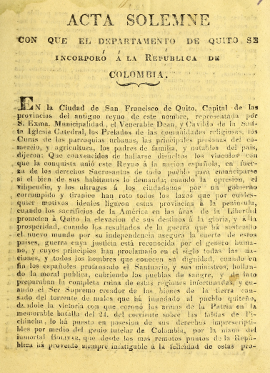 "Detail of a printed document shows text in Spanish reading ""Acta solemne."""