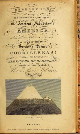 title page showing decorative script and image of a mountaintop