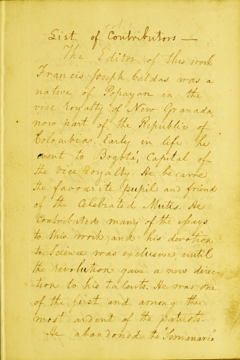 Detail from a printed text shows yellow-tinted page with manuscript preface in English.