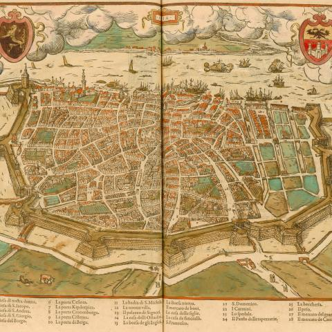 colored plan of the city of Antwerp, Belgium