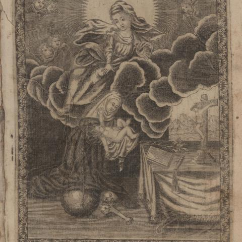 Image depicting an angel hovering over Mary and Jesus