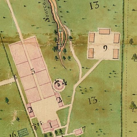 detail of a plan showing plantations and dwellings