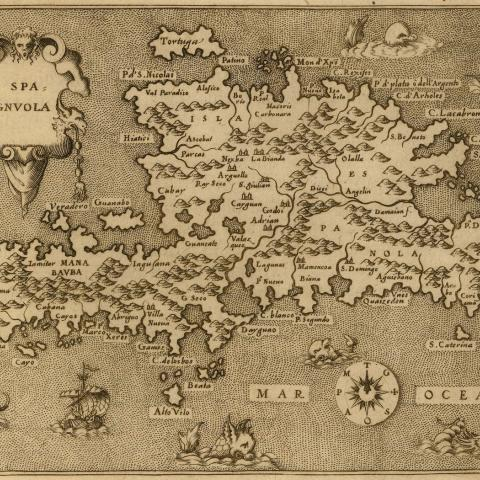 engraved map of the island of Hispaniola with present-day Haiti and Santo Domingo, including sea monsters, ships, and a compass