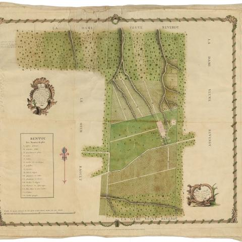 idealized plan of a coffee plantation in Saint Domingue