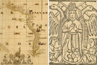 two images, the first showing a map of Peru and Chile with decorative elements and the second showing an image of the Virgin of Guadalupe with children at her feet