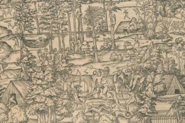 Detail from: Figure des Brisilians. [Rouen, 1551]. Original at the John Carter Brown Library.