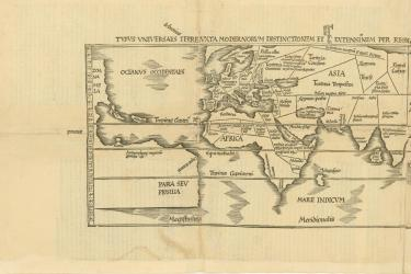 printed map of the world showing some lines of latitude and names of winds