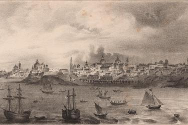 View of Buenos Aires in present-day Argentina seen from the harbor, showing a built environment including ships, boats, churches, and dwellings.