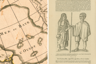 two images, the first showing a detail of a map of North America showing the Bering Strait and Eastern Asia and the second showing an indigenous man and woman from Chile