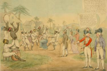 anti-abolitionist political cartoon depicting slaves dancing and playing music in front of an audience of planters