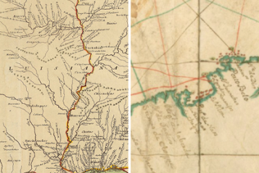 two images, the first showing a map of Louisiana and the second showing a detail of a map of the Caribbean
