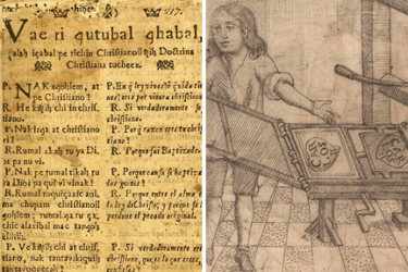 two images, the first showing printed text in Spanish and Kaqchikel and the second showing a printer with printing press