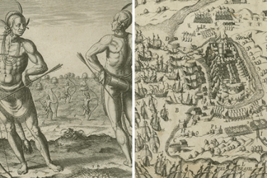 two images, the first showing an elite or royal Native American man and the second depicting the battle of São Salvador de Bahia de Todos os Santos in Brazil