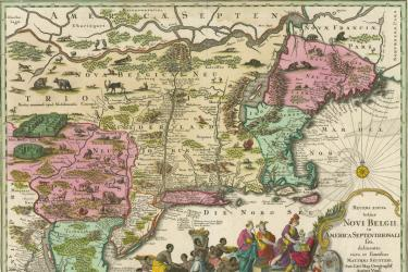engraved and hand-colored map of northeastern North America including present-day Maine to Virginia